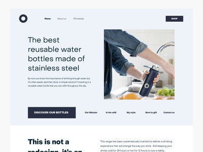 Reusable bottles website (v1) website design web ui layout clean bottle minimal header conversion grid ux interface ecommerce