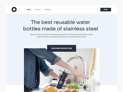 Reusuable bottles website (v2) design web layout minimal ui ux interface blue grid product header website bottles clean