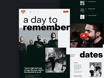A day to remember - music (rock) band website tickets website design web ui clean booking layout minimal conversion grid ux interace