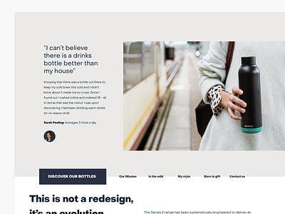 Drink bottle brand exploration - testimonials (v2) website design web ui clean layout drinks bottle minimal conversion grid ux interface testimonial