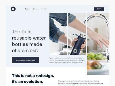 Reusuable bottles website (v3) home page branding web design site simple marketing bottles clean website header product grid blue interface ux ui minimal layout web design