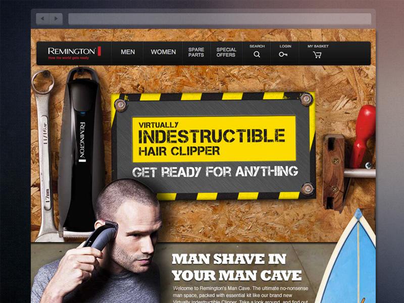 Remington Man Cave web remington product header brand website layout shaver web design