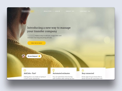 Big Website (Full) Header cta yellow website ui tease image hero header fonts design clean arvo