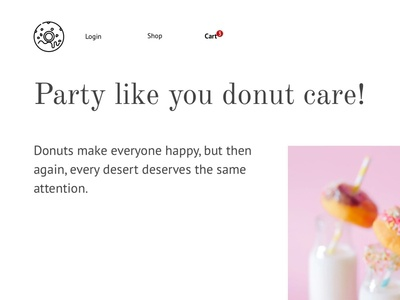 Exploration: Donut Care food white flat website web ui simple responsive product minimal designer donut