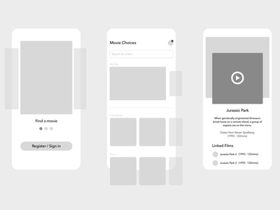 Exploration: Find a Movie ux wireframe findamovie movie movie app site simple grid web design clean layout product ui web design website app concept app