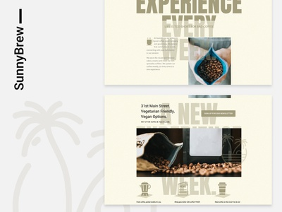 SunnyBrew - Coffee shop concept clean desktop home page typography people product ui layout web design coffee website
