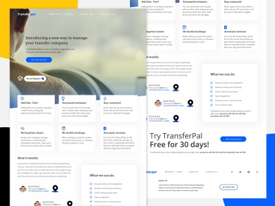 TransferPal Desktop simple taxi app white ux minimal site home page product ui web app website taxi