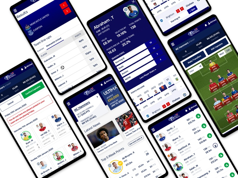 Sky Sports Fantasy Football 2019-2020 update layout branding website product clean soccer skysports data minimal uiux app ui design football football fantasy modern mobile app