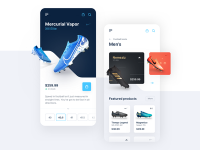 Football Boots - Mobile Shop uidesign layout vector flat shadow minimal uiux clean blue e-commerce shop e-commerce football sport mobile app interface ui mobile elegant digital app