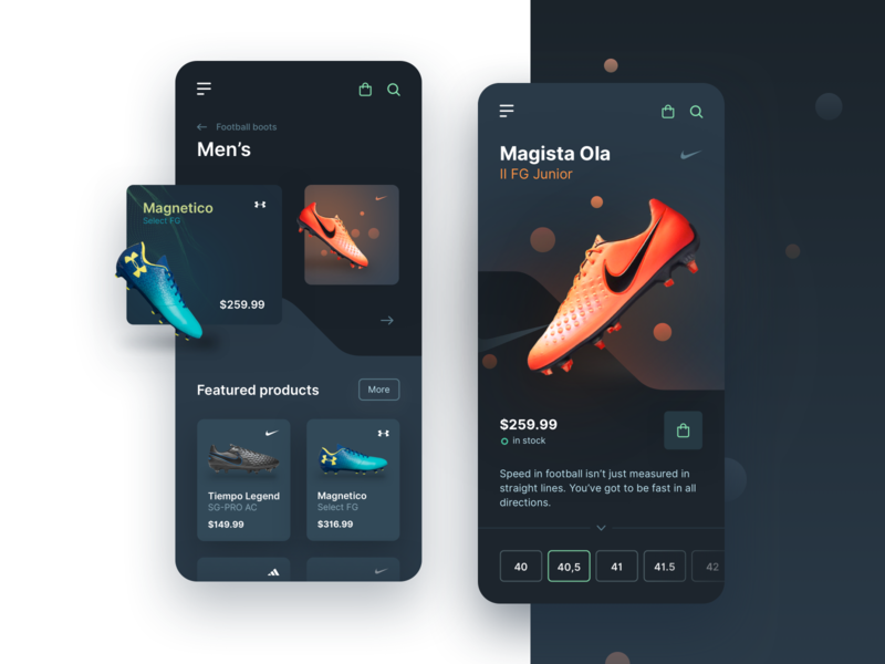 Football Boots - Mobile Shop - Dark Mode mobile app e-commerce shop elegant minimal uiux sport football interface e-commerce mobile mobileui vector layout ui uidesign shadow digital app