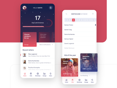 Santa's Application mobile dashboard white blue red gifts holiday santa christmas elf design clean vector shadow ui minimal layout elegant digital app