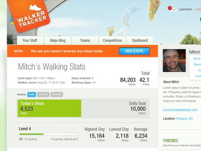 Walker Tracker fitness walking ui meter