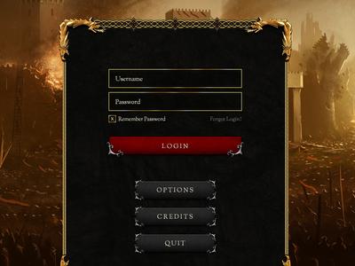 Login gold game ui login ornate medieval
