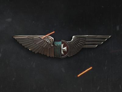 Days of War Logomark wings military war ww2 metal icon 3d game logo