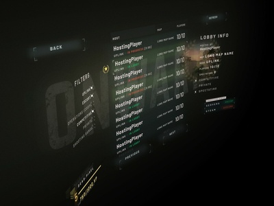 Server Browser military virtual reality vr interface design ui game