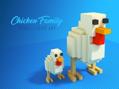 Chicken Family Voxel/Lego voxel art voxel icon illustration
