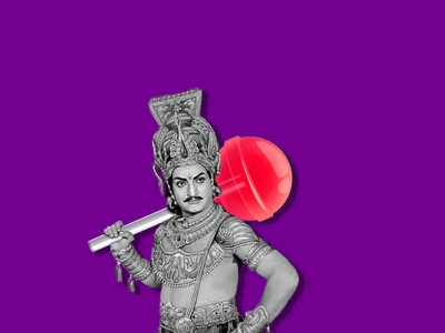 King Pop art designer drawing red ui graphic design sketch retouch violet lollipop design king
