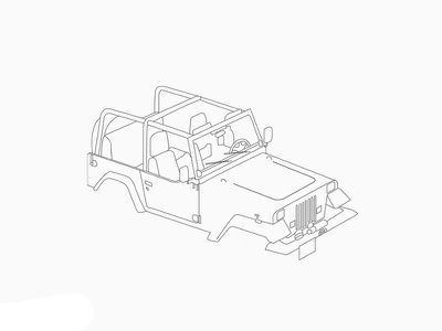 Jeep Wrangler (Jurassic Park) designer artwork graphic design clean minimal sketch design creative art jurassic park jeep jeep wrangler