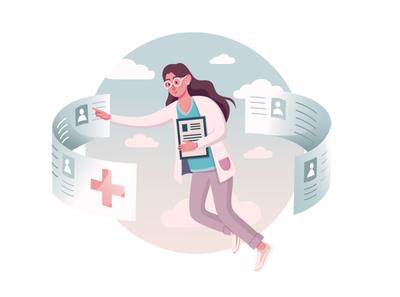 Receptionist nurse health adobe illustrator vector illustration girl character medical nurse character vectorart illustration reception medicine nurse