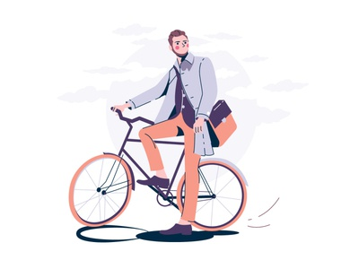 A man with a bicycle clouds vectorart vector illustration adobe illustrator illustration cyclist bycicle street