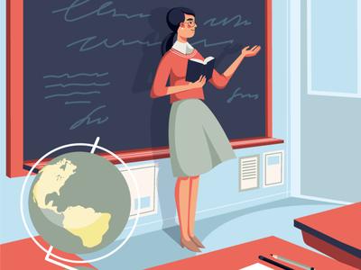 Teacher illustration lesson girl character adobe illustrator vectorart geography globe blackboard chalkboard classroom vector vector illustration school illustration teacher