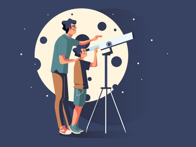 Father with the son - astronomers character people adobe illustrator stars monitoring night moonlight vector vector illustration illustaration child son father moon astronomer astronomy