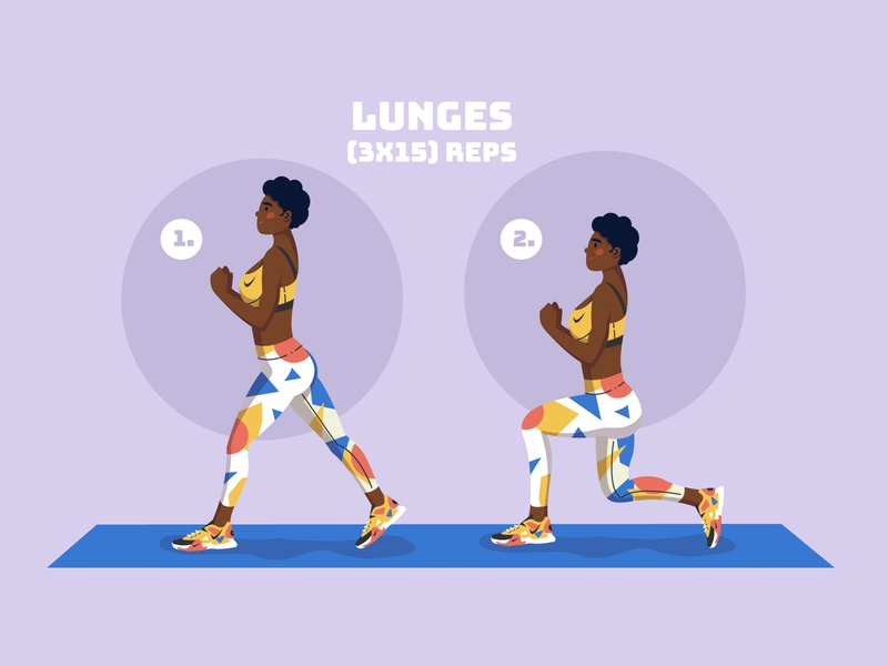 Lunges - Fitness stay at home health stay healthy stay home stayhome home fitness adobe illustrator sport girl character illustration vector illustration character challenge fit fitness