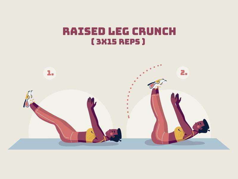 Raised Leg Crunch - Fitness home fitness leg crunch crunch stay healthy stay at home stay home stayhome health girl character vector illustration illustrator illustration sport fit fitness