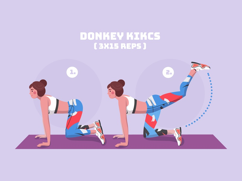 Donkey Kicks - Fitness stay at home stayhome stay healthy health vector illustrator girl character vector illustration illustration kick home fitness challenge fit fitness sport