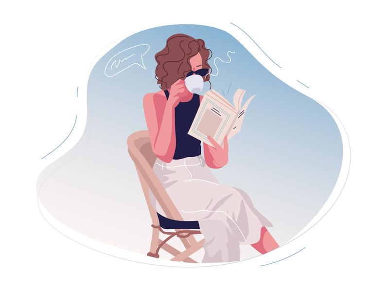 Girl reading a book and drinking coffee read a book to drink coffee coffee cup coffee morning reading book reading vector vector art girl character vectorart vector illustration adobe illustrator illustration