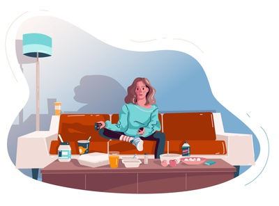 Girl stay at home food delivery food and drink delivery delivery service home delivery quarantine quarantinelife staysafe stay home stayhome stay at home adobe ilustrator character vectorart vector illustration vector illustration adobe illustrator girl character girl