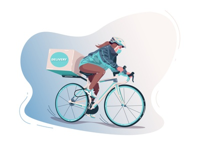 Delivery bike courier bicycle delivery service food delivery delivery illustrator character vector art vector vector illustration adobe illustrator illustration delivery courier courier girl illustration girl character girl