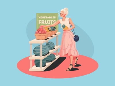 Girl in a fruit shop choice healthy eating healthy lifestyle healthy food healthy vegetables shopping store fruits pineapple girl girl illustration character vector art girl character vector vector illustration adobe illustrator illustration