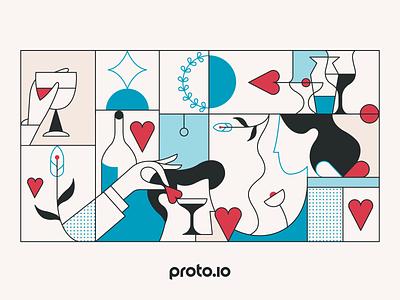 Happy Valentine's Day! ux vector ui design illustration geometric man woman wine creative flowers hands couple love heart valentines day valentine