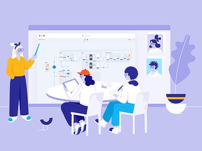 Design presentation with Overflow website character work project human vector designer brand communication teamwork presentation remote office notes meeting userflow ui shapes design illustration