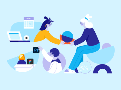 Overflow's 2020 Year in Review - Illustration laptop tasks character photoshop figma projects design review 2020 windows collaboration rebranding teamwork work remote integration sketch logo ui illustration
