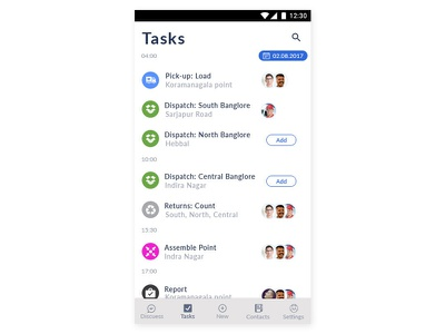 Assign Task screen Rapid Prototyping workers blue collar assing task