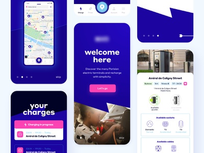 Charging Electric Car Application typography map interface web deep blue car electric mobile application ux ui