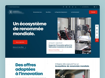 Startup Incubator - Landing Page typography incubator blue desktop web startup landing page design ux ui
