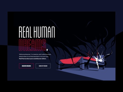 REAL HUMAN DREAMS - Landing Page dreams vector illustration desktop design ui ux