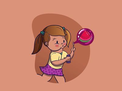 Girl making Watermelon bubble
