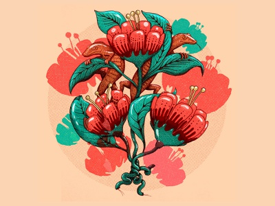 Between leaves and lizards coral color silk tattoo reptile botanical garden paiting halftone lizard flower leaves coral living coral color illustration