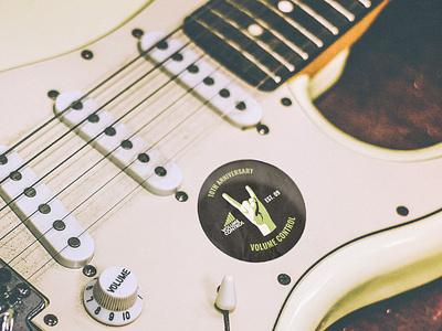 Volume Control Anniversary Sticker merch design sticker music merchandise guitar rock belfast northern ireland