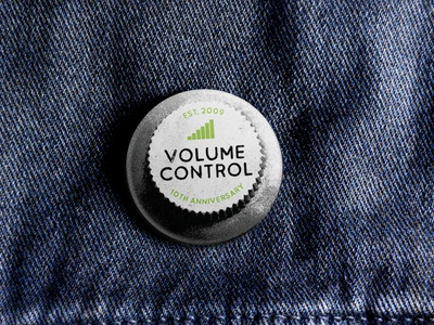 Volume Control Anniversary Badge merch design music merchandise guitar branding rock belfast northern ireland