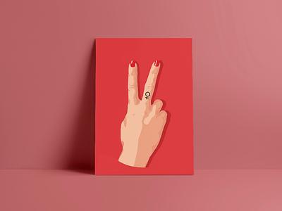 Two Fingers Up feminist feminism illustration vector design