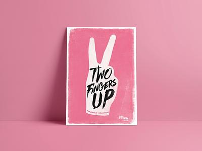 Two Fingers Up screenprint feminist poster halftone illustration womens rights feminism design