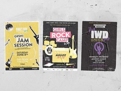 Girls Rock School NI Posters illustraion punk gig poster poster design poster music belfast northern ireland