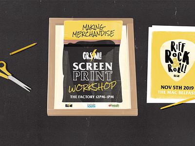 GRSNI Screen Print Workshop Facebook Banner lettering feminism vector illustration merchandise rock music branding belfast northern ireland