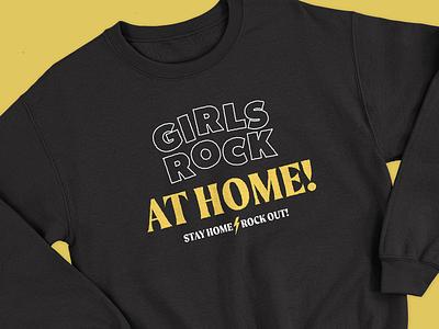 Girls Rock At Home! girls rock design music rock belfast northern ireland merch design branding merchandise