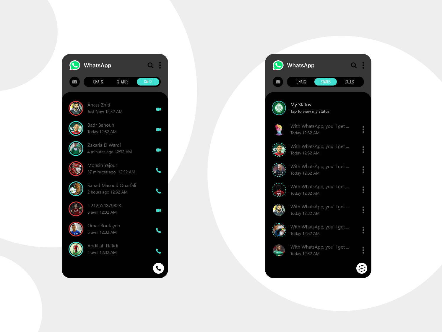 Status & Calls Whatsapp App REDESIGN dark mode type animation logo vector calls call status mode dark dark mode branding typography illustration whatsapp app design app flat ux design ui